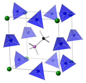 Scientists discovered how to control a material's properties and stability to develop next-generation solar cells based on newly discovered hybrid perovskites (atomic structure shown above). Simulations revealed that hybrid perovskites could be viewed as super-alkali halides. The schematic illustrates a hybrid perovskite structure where the super halogens are the blue tetrahedrons, the metal atoms are green, and the alkali cation is in the middle (gray structure with pink and black atoms). Image Credit: The Royal Society of Chemistry. Click the link above for more information.