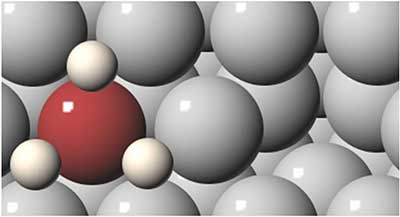 This reaction diagram models the interaction of hydrogen (red sphere) and titanium (white sphere) with aluminum (gray spheres) to form alane. A vacancy in the aluminum surface is shown on the right. Image Credit; Amers Laboratory. Click image for the largest view.