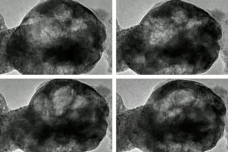 These images, taken from a transmission electron microscope, show a perovskite material oscillating as it is exposed to water vapor and a beam of electrons. Image Credit: Brookhaven National Laboratory. Click image for the largest view.