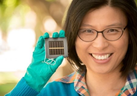 Dr Anita Ho-Baillie With a new Record Efficiency Perovskite Solar Cell. Image Credit: Australian Centre for Advanced Photovoltaics. Click image for the largest view.